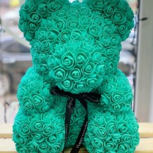 Meškiukas iš rožių 40cm (žalias)