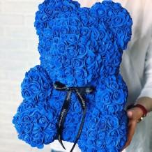 Meškiukas iš rožių 40cm (mėlynas)