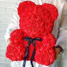 Meškiukas iš rožių 40cm (raudonas)