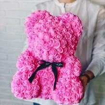 Meškiukas iš rožių 40cm (rožinis)